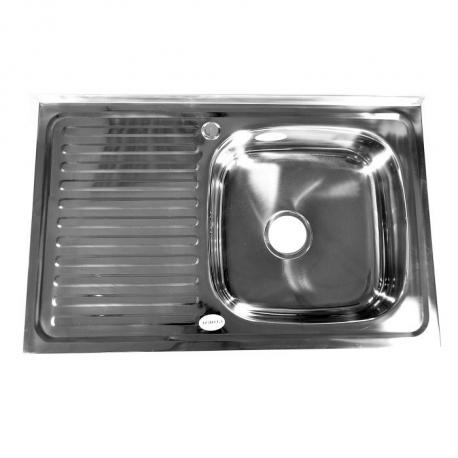 Кухонна мийка накладна  500*800 полірована 140/0,4 права