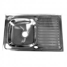 Кухонна мийка накладна  500*800 полірована 140/0,4 ліва
