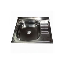 Кухонна мийка накладна  600*500 полірована 140/0,4 ліва