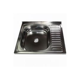 Кухонна мийка накладна 500*600 полірована 140/0,4 ліва