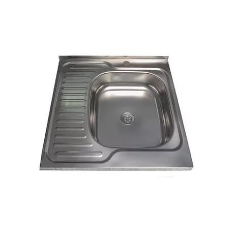 Кухонна мийка накладна  600*600 полірована 140/0,4 права