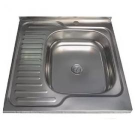 Кухонна мийка накладна  600*600 полірована 140/0,4 ліва