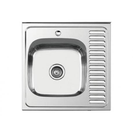 Кухонна мийка накладна  600*600 полірована 190/0,5 ліва