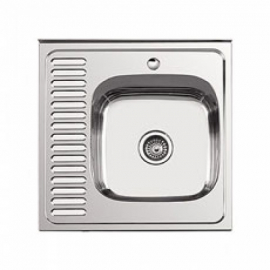Кухонна мийка накладна  600*600 полірована 190/0,5 права