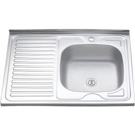 Кухонна мийка накладна  500*800 полірована 190/0,5 права