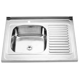 Кухонна мийка накладна  500*800 полірована 190/0,5 ліва